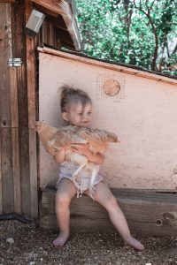 Massage Therapist by popular Colorado Springs Massage Therapist, Camino Massage: image of a little girl holding a chicken.